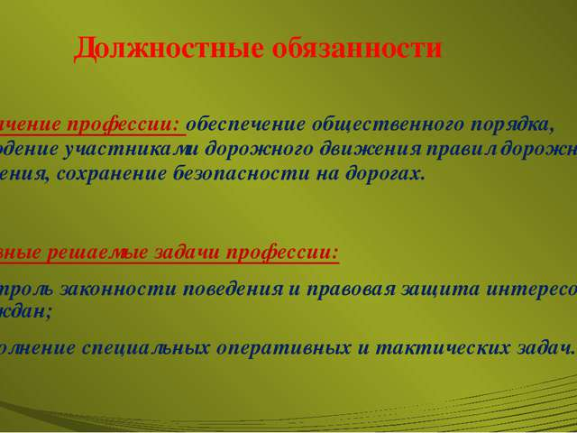 Должностные обязанности Назначение профессии: обеспечение общественного поряд...
