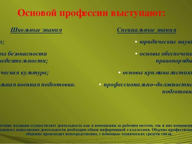 Основой профессии выступают: Школьные знания право; основы безопасности жизне...