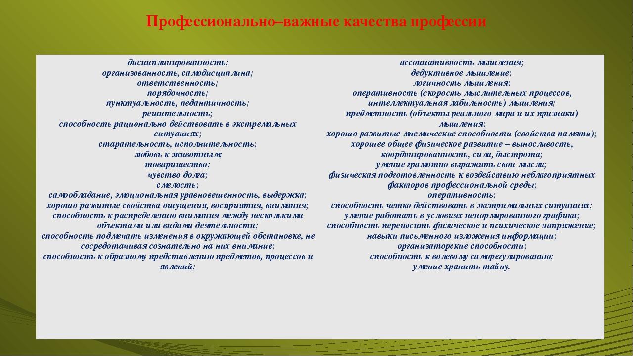 Профессионально–важные качества профессии дисциплинированность; организованно...