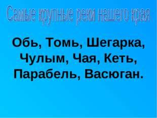 Обь, Томь, Шегарка, Чулым, Чая, Кеть, Парабель, Васюган.
