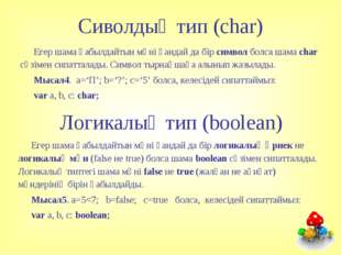 Сиволдық тип (char) Егер шама қабылдайтын мәні қандай да бір символ болса шам