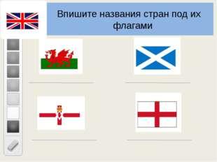 Впишите названия стран под их флагами