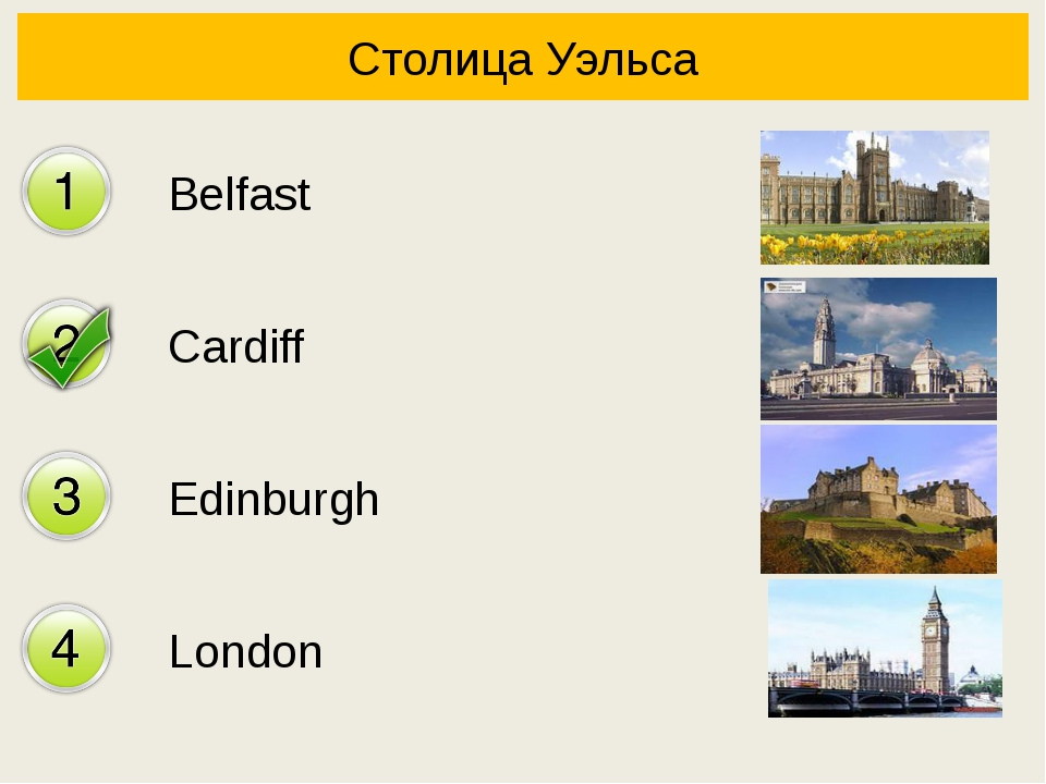 Столица Уэльса Belfast Cardiff Edinburgh London