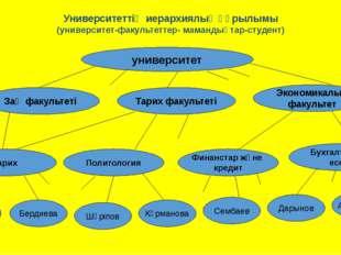 Университеттің иерархиялық құрылымы (университет-факультеттер- мамандықтар-ст