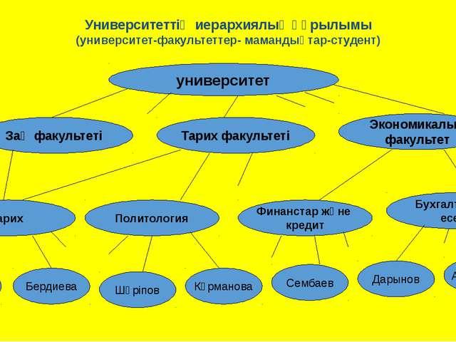 Университеттің иерархиялық құрылымы (университет-факультеттер- мамандықтар-ст...