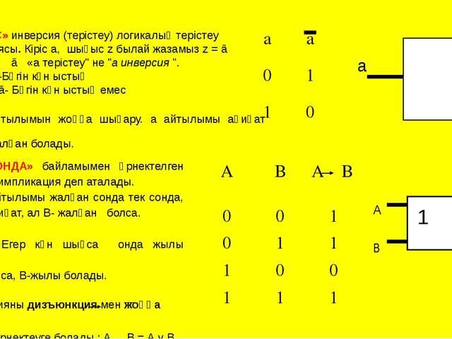 «ЕМЕС» инверсия (терістеу) логикалық терістеу операциясы. Кіріс а, шығыс z бы...
