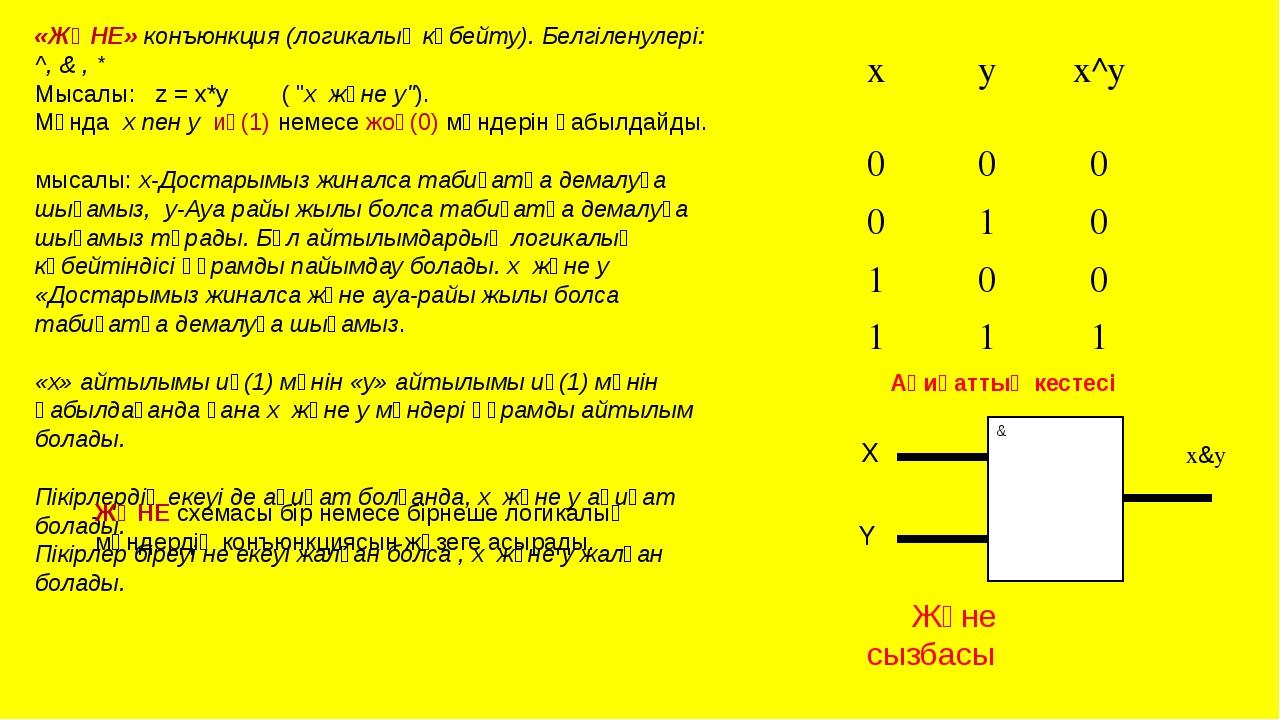 «ЖӘНЕ» конъюнкция (логикалық көбейту). Белгіленулері: ^, & , * Мысалы: z = x*...