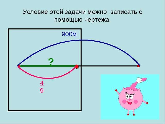 Условие этой задачи можно записать с помощью чертежа. 900м 4 9 ?