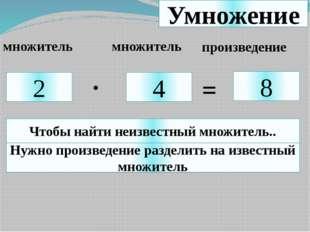 Умножение 2 4 8 . = множитель множитель произведение Чтобы найти неизвестный