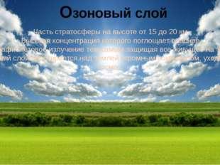Озоновый слой Часть стратосферы на высоте от 15 до 20 км. Высокая концентраци