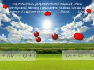 Под воздействием ультрафиолетового излучения Солнца (молекулярный кислород )