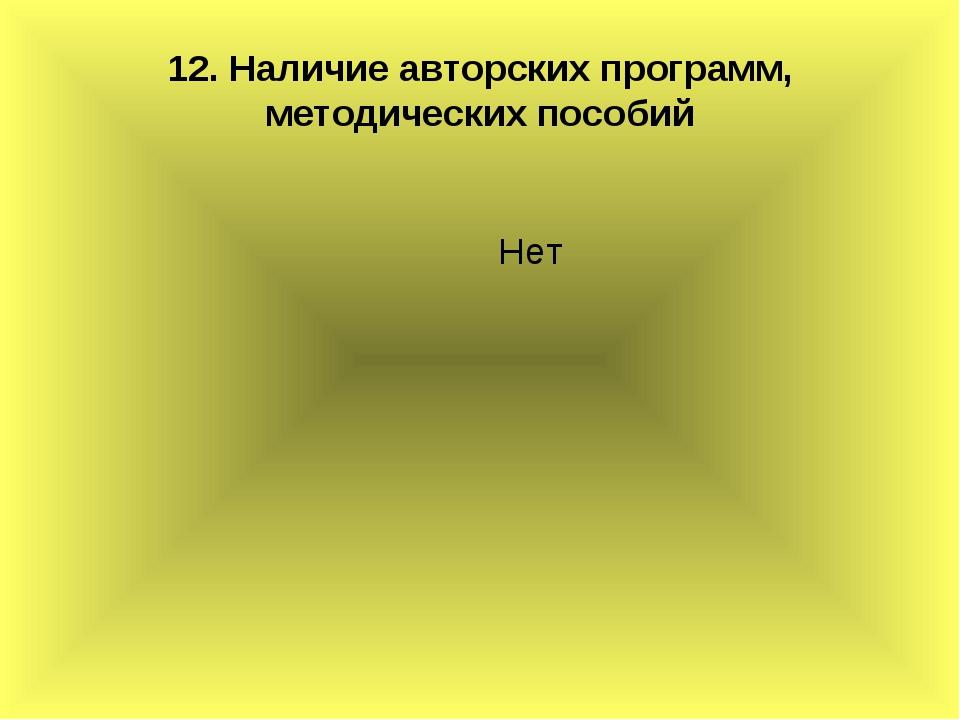12. Наличие авторских программ, методических пособий Нет