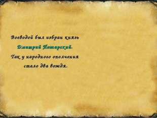 Воеводой был избран князь Дмитрий Пожарский. Так у народного ополчения стало
