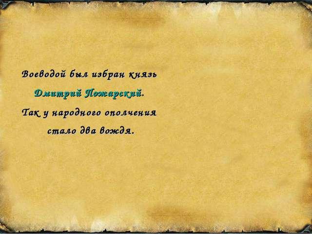 Воеводой был избран князь Дмитрий Пожарский. Так у народного ополчения стало...