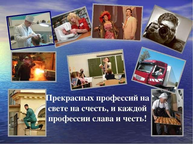 Прекрасных профессий на свете на счесть, и каждой профессии слава и честь!