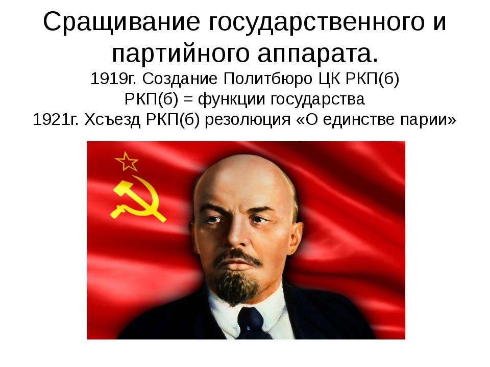 Сращивание государственного и партийного аппарата. 1919г. Создание Политбюро...