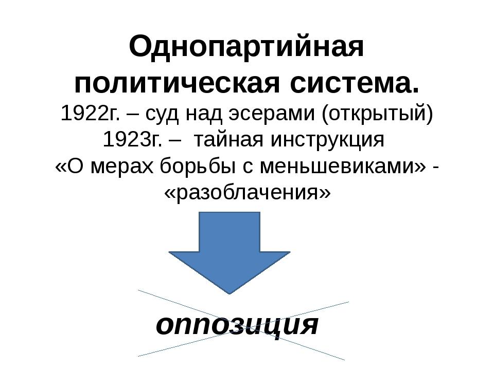 Однопартийная политическая система. 1922г. – суд над эсерами (открытый) 1923г...
