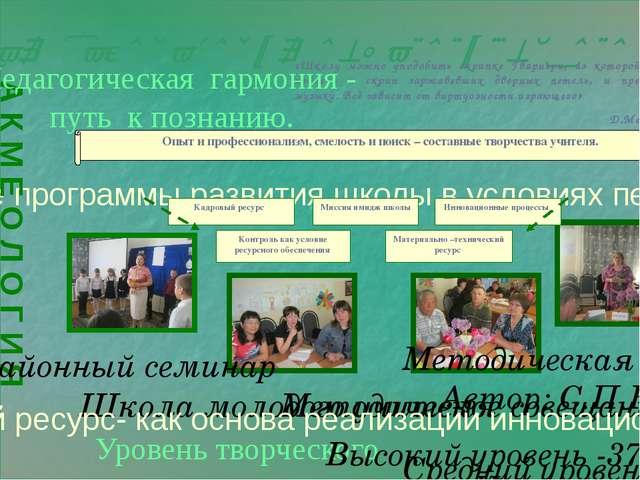 Творческая лаборатория педагогического опыта учителя «Школу можно уподобить...