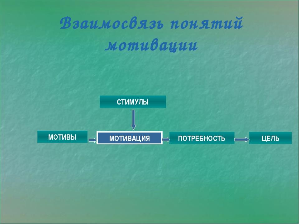 Взаимосвязь понятий мотивации СТИМУЛЫ МОТИВЫ МОТИВАЦИЯ ПОТРЕБНОСТЬ ЦЕЛЬ
