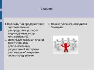 Задание: 1.Выбрать тип предприятия и соответственно распределить роли( от инд
