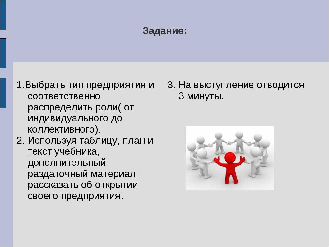 Задание: 1.Выбрать тип предприятия и соответственно распределить роли( от инд...