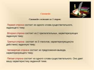 Синквейн Синквейн состоит из 5 строк: Первая строка состоит из одного слова-с