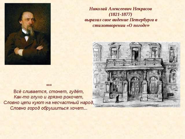 Николай Алексеевич Некрасов (1821-1877) выразил свое видение Петербурга в сти...