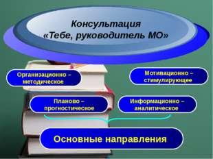 Организационно – методическое Основные направления Консультация «Тебе, руково