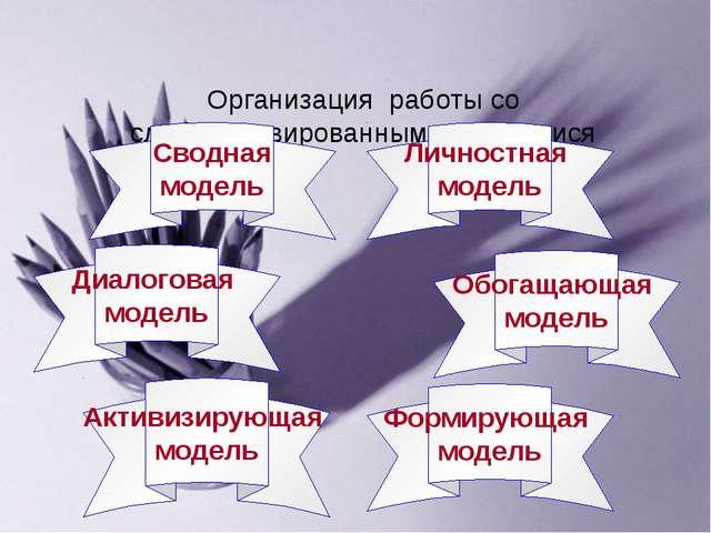 Организация работы со слабомотивированными учащимися Сводная модель Диалогова...