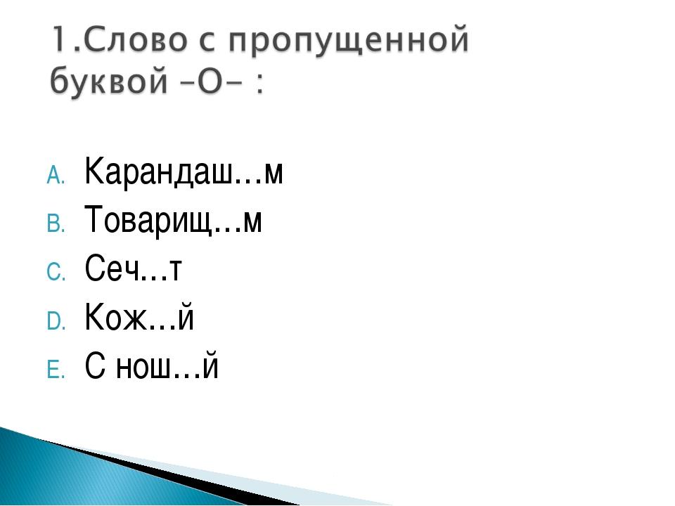 Карандаш…м Товарищ…м Сеч…т Кож…й С нош…й