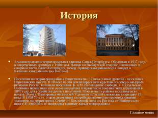 История Административно-территориальная единица Санкт-Петербурга. Образован в