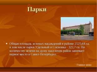Парки Общая площадь зеленых насаждений в районе 2525,64 га, в том числе парки