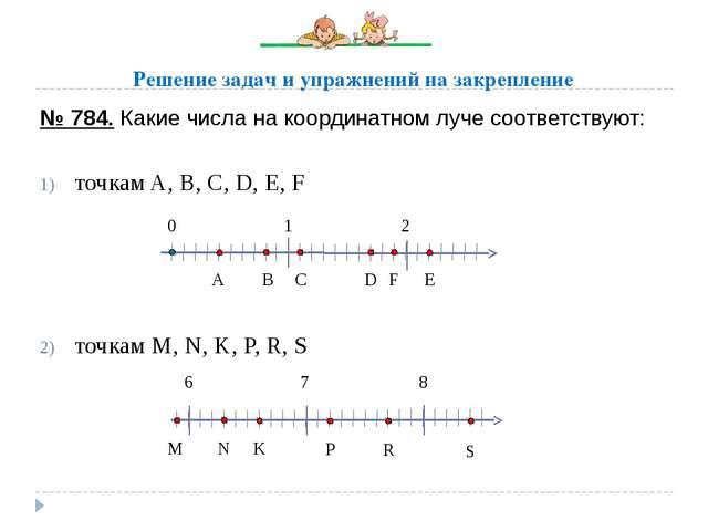№ 784. Какие числа на координатном луче соответствуют: точкам A, B, C, D, E,...