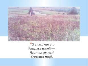Я знаю, что это Раздолье полей — Частица великой Отчизны моей.