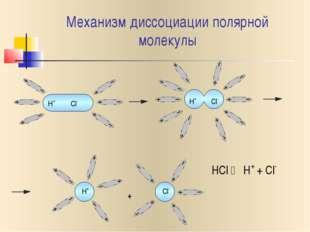 Механизм диссоциации полярной молекулы H+ Cl- H+ Cl- H+ Cl- + HCl  H+ + Cl-