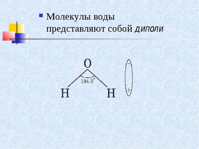 Молекулы воды представляют собой диполи