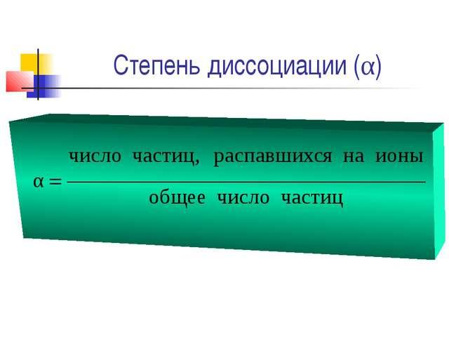 Степень диссоциации (α)