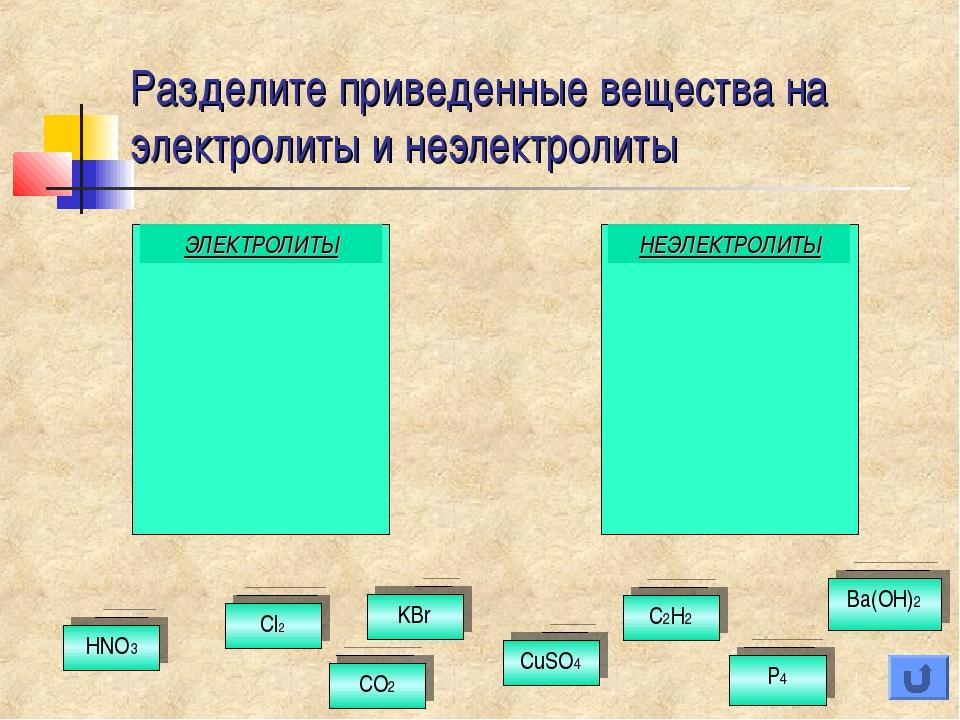 Разделите приведенные вещества на электролиты и неэлектролиты ЭЛЕКТРОЛИТЫ НЕЭ...