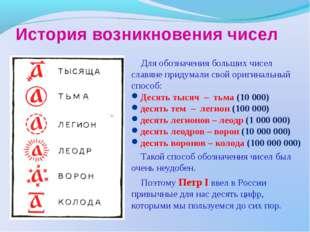 История возникновения чисел Для обозначения больших чисел славяне придумали с