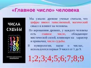 «Главное число» человека Мы узнали: древние ученые считали, что цифры имеют т
