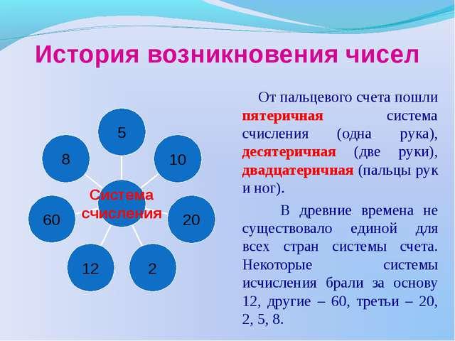 История возникновения чисел От пальцевого счета пошли пятеричная система счис...