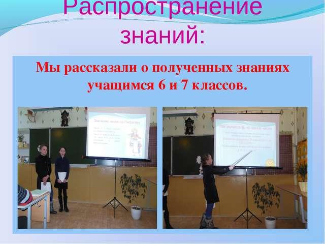 Распространение знаний: Мы рассказали о полученных знаниях учащимся 6 и 7 кла...