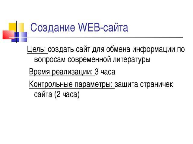 Создание WEB-сайта Цель: создать сайт для обмена информации по вопросам совре...