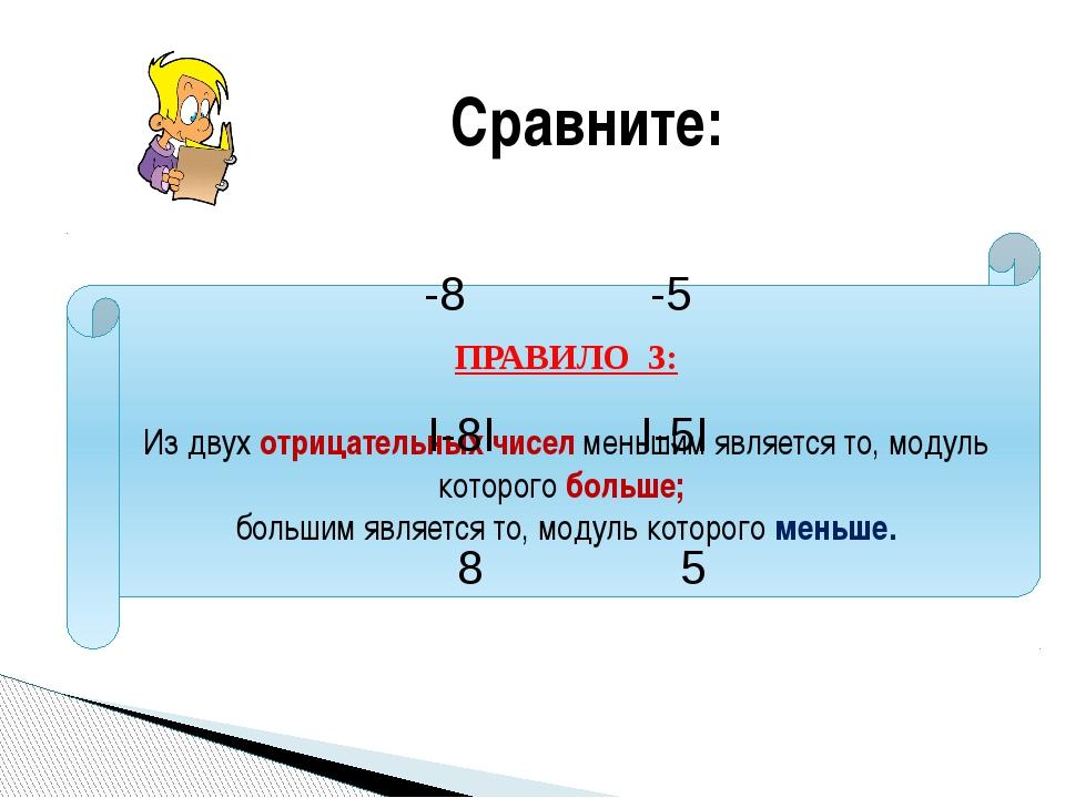 ПРАВИЛО 3: Из двух отрицательных чисел меньшим является то, модуль которого б...