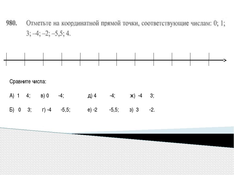 Сравните числа: А) 1 4; в) 0 -4; д) 4 -4; ж) -4 3; Б) 0 3; г) -4 -5,5; е) -2...