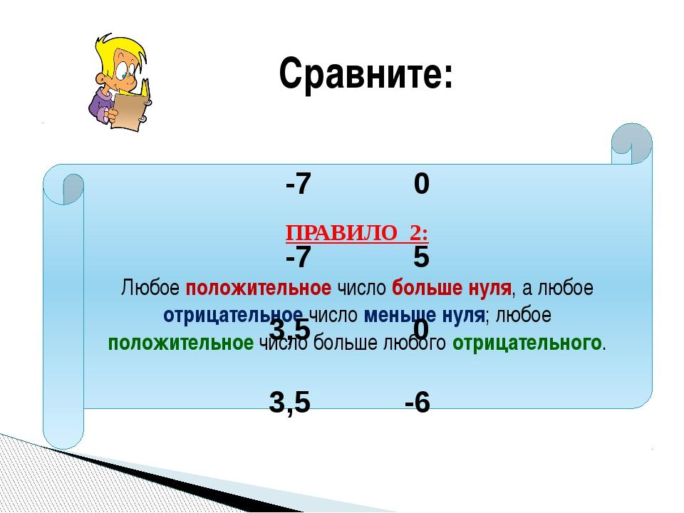 ПРАВИЛО 2: Любое положительное число больше нуля, а любое отрицательное число...