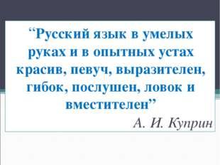 """""""Русский язык в умелых руках и в опытных устах красив, певуч, выразителен, ги"""