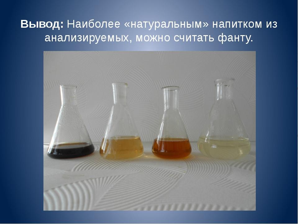 Вывод: Наиболее «натуральным» напитком из анализируемых, можно считать фанту.