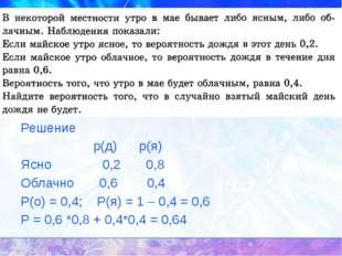 у Решение р(д) р(я) Ясно 0,2 0,8 Облачно 0,6 0,4 Р(о) = 0,4; Р(я) = 1 – 0,4 =