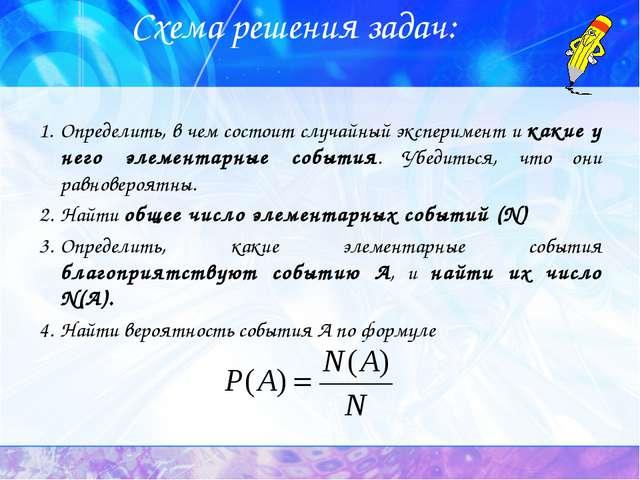 Схема решения задач: Определить, в чем состоит случайный эксперимент и какие...